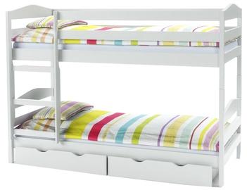 Divstāvīga gulta Halmar Sam, balta, 87x144 cm