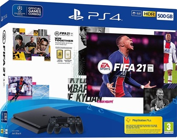 Sony Playstation 4 (PS4) 500GB Black + 2 Dualshock Controllers + FIFA 21