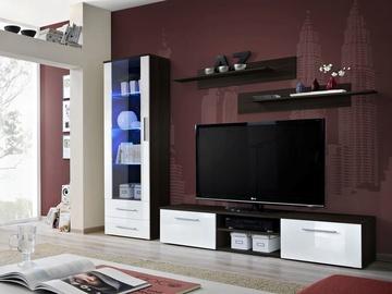 Dzīvojamās istabas mēbeļu komplekts ASM Galino A Wenge Body/White Gloss