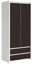 Skapis Black Red White Kaspian White&Wenge, 90x55.5x200.5 cm