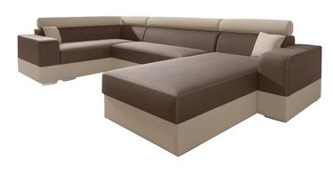 Stūra dīvāns Idzczak Meble Infinity Super Brown/Beige, kreisais, 332 x 185 x 93 cm