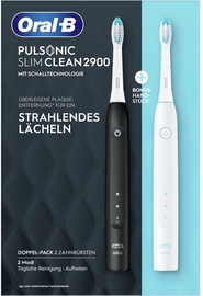 Электрическая зубная щетка Braun Pulsonic Slim Clean 2900 Duo Pack, белый/черный