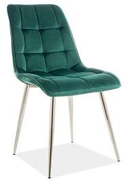 Ēdamistabas krēsls Signal Meble Modern Chic Velvet, zaļa/hroma
