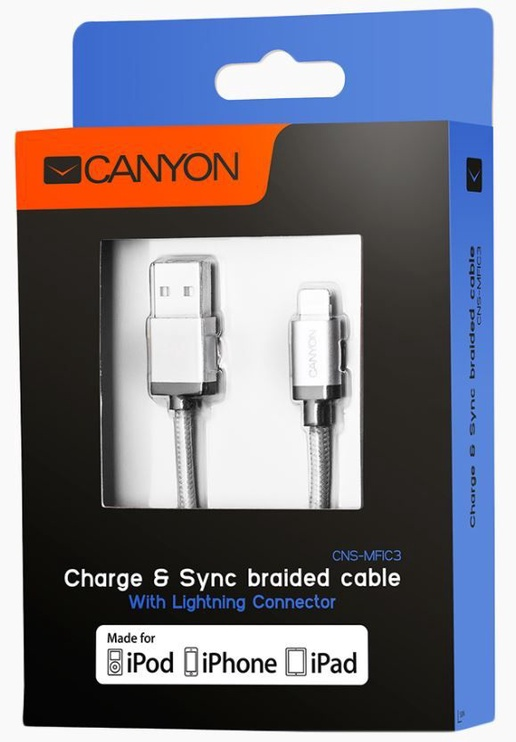 Canyon Braided Cable Apple Lightning / USB 1m Grey
