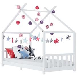 Bērnu gulta VLX Solid Pine Wood 283367, balta, 146x78 cm