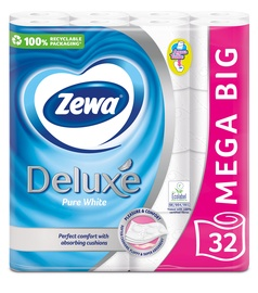 Tualetes papīrs Zewa Deluxe Pure White, 32 gab.
