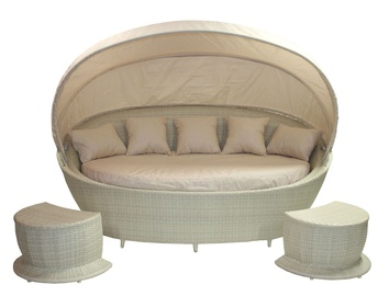 Home4you Muse Sofa w/ Canopy And 2 Foot Stools Beige