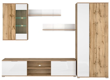 Black Red White Zele Wall Unit White/Brown