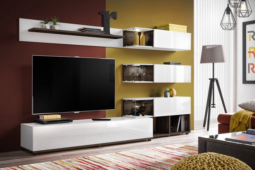ASM Silk Living Room Wall Unit Set White/Perla Elm