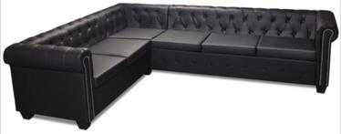 Stūra dīvāns VLX Chesterfield 243617, melna, 260 x 205 x 37 cm
