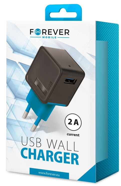Forever TC-04 USB Wall Charger 2A Black/Blue