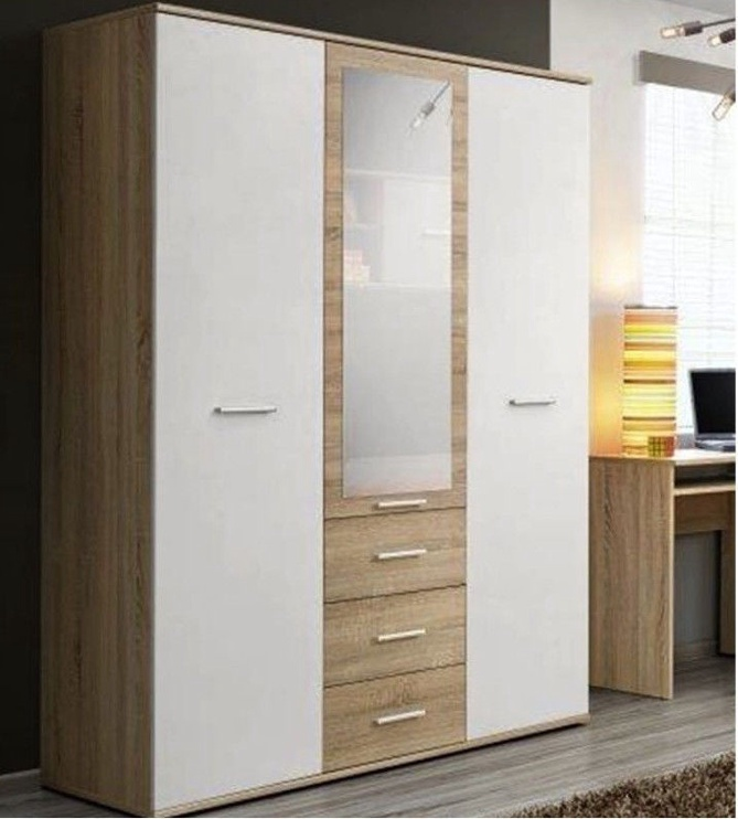 Skapis ASM Dino 3D3S White/Sonoma Oak, 135x55x191 cm, with mirror