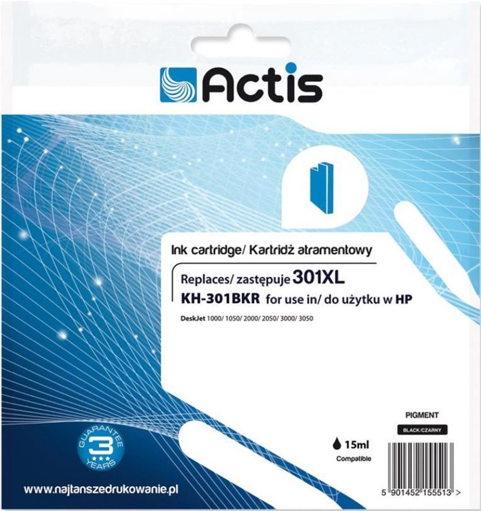 ActiveJet Cartridge KH-301BKR For HP 15ml Black