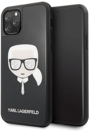 Karl Lagerfeld Iconic Glitter Karl's Head Back Case For Apple iPhone 11 Pro Black