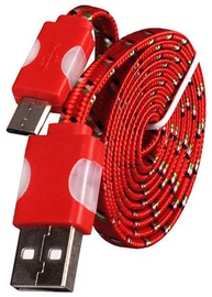Etui Super Flat Universal Micro USB Cable w/ LED Light Red