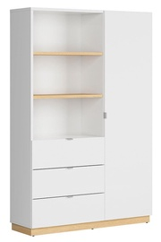 Black Red White Denton Bookshelf 120cm Oak/White