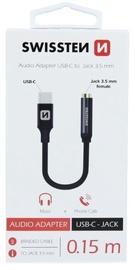 Swissten USB-C to 3.5mm Audio Adapter 15cm Black