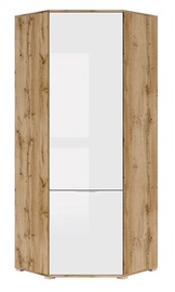 Skapis Black Red White Zele Wotan Oak/White Gloss, 78x78x195 cm