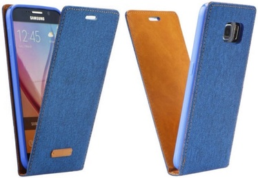 Forcell Canvas Flexi Vertical Book Case For Samsung Galaxy S7 Edge Blue