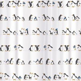 Vannas istabas aizkars Tatkraft Penguins, balta/melna, 1800x1800 mm