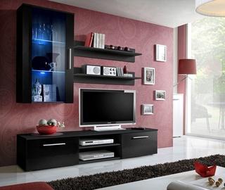 Dzīvojamās istabas mēbeļu komplekts ASM Galino E Black/Black Gloss