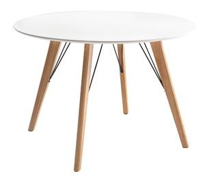 Обеденный стол Home4you Helena White/Oak, 1000x1000x750 мм