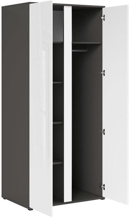 Black Red White Graphic Hallway Wardrobe Grey/White