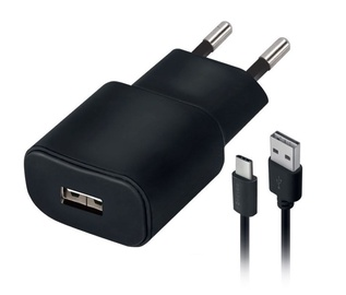 Forever TC-01 USB Wall Charger 2A + USB Type-C 1.2m Black