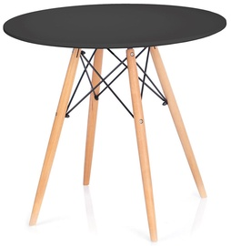Pusdienu galds Homede Tebe, melna/ozola, 650x650x720mm