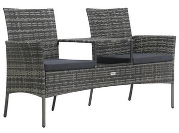 Садовый диван VLX Poly Rattan, серый, 152 см x 62 см x 85 см