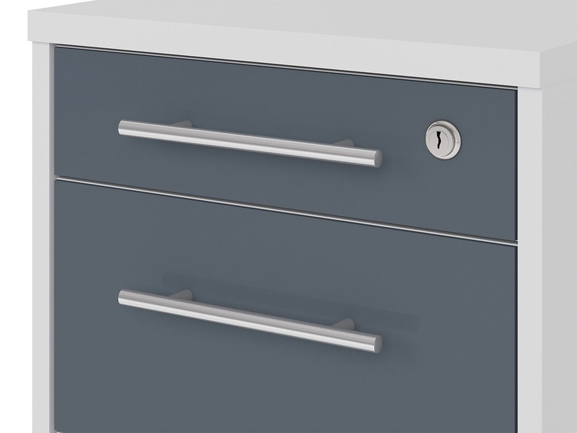 Black Red White Office Lux Drawer Light Grey/Graphite Glass