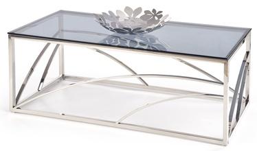 Kafijas galdiņš Halmar Universe, caurspīdīga/sudraba/pelēka, 1200x600x450 mm