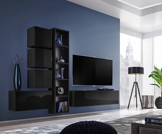 ASM Blox III Living Room Wall Unit Set Black