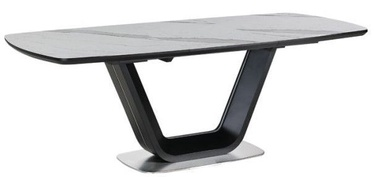 Pusdienu galds Signal Meble Armani White/Black Matt, 2200x900x760 mm