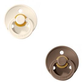 Bibs Colour Round Pacifier 2pcs Ivory/Dark Oak 0-6m