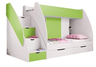Двухъярусная кровать Idzczak Meble Marcinek White/Lime, 255x125 см