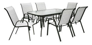 Home4you Dublin Table And 6 Chair Set Silver Grey