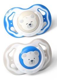 BabyOno Symmetrical Silicone Soother White/Blue 2pcs 6-18m