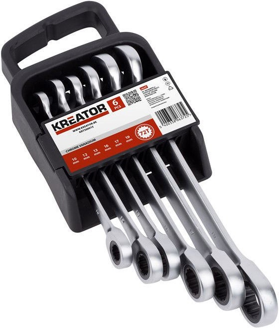 Kreator Ratchet Spanner Set 10-19mm 6pcs