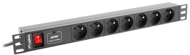 "Lanberg Power Distribution Unit 19"" 1U 10A 7 Sockets 2m Black"