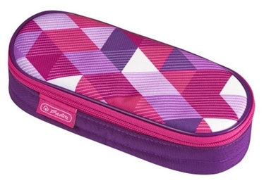 Herlitz Pencil Pouch Oval Pink Cubes