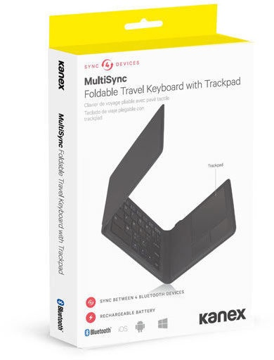 Kanex MultiSync Foldable Travel Keyboard With Trackpad Black