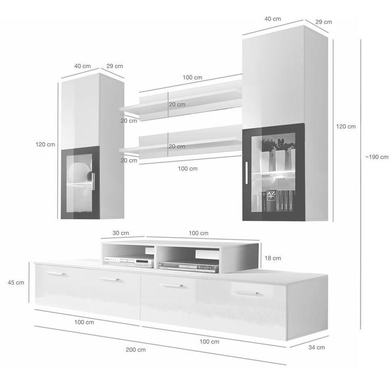 ASM Mini Living Room Wall Unit Set LED White/Black