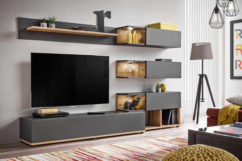 ASM Silk Living Room Wall Unit Set Anthracite/Wotan