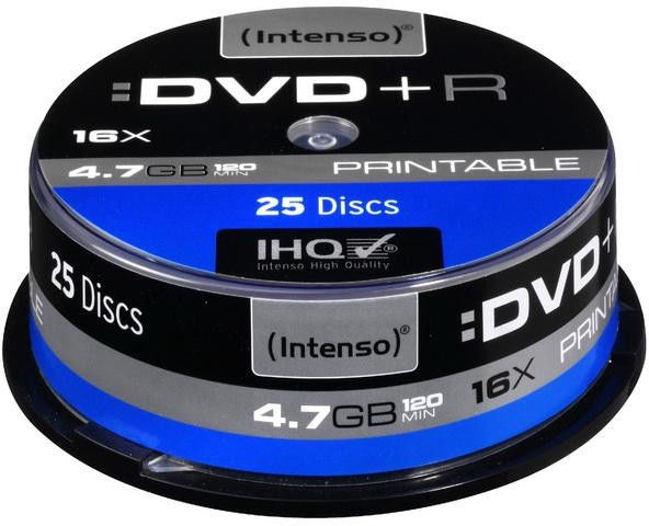 Intenso DVD+R Printable 16x 4.7GB 25pcs. Cake Box 4811154