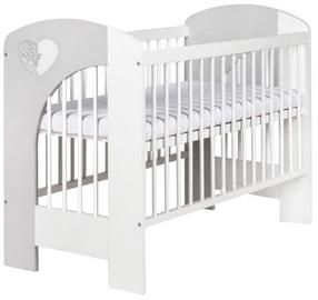 Детская кровать Klups Nel Heart White/Grey, 125x66 см