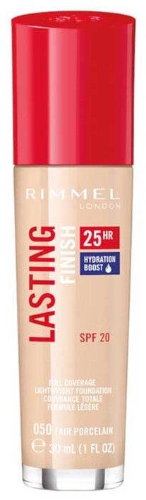 Tonizējošais krēms Rimmel London Lasting Finish 25h Foundation With Hydration Boost 050 Fair Porcelain