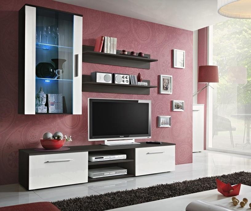 Dzīvojamās istabas mēbeļu komplekts ASM Galino E Wenge/White Gloss