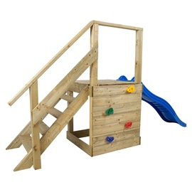 Stairs Trampoline Light Brown With Climbing Wall