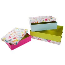 Dāvanu kaste Goldbuch Lots Of Hearts, zila/balta/dzeltena/rozā, 260 mm x 185 mm x 70 mm